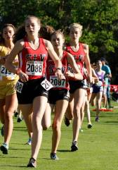 Three SLV girls running in the Stanford Invitational. Photo From: Facebook