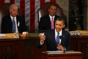 President Obama orating his address. Photo From: thinkprogress.org